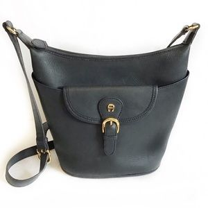Vintage Etienne Aigner Navy Leather Bucket Bag